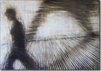 FOLLOWED BY MY SHADOW, graphite on wood, 70x100cm, 2010
