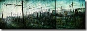 EMPTY STATION triptych, oil, pigments and enamel on canvas, 50x140cm,2014