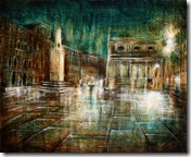 NIGHT IN VENICE, oil, pigments and enamel on wood,40x50cm, 2013